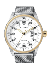 Aviator OF Collection AW1364-54A Orologio  Uomo Acciaio Bicolore Citizen Eco Drive  45mm