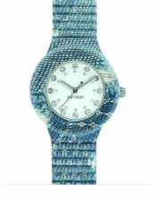 Blu HWU0666-Hip Hop Jeans Collection-Orologio Donna/Bambino Silicone e Jeans Quarzo-32mm