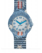 Light Blue Star HWU0678-Hip Hop Jeans Collection-Orologio Donna/Bambino Silicone e Jeans Quarzo-32mm